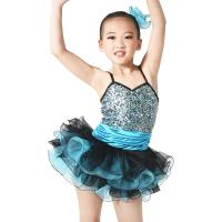 Quality Endearing Dance Competition Wear Sweetheart Bodice Blue Short Dresses , Neck Collar Bodice Layered Frill Dress for sale