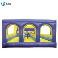 China PVC Material Inflatable Bounce House 3 Lanes Bungee Run Obstacle Course on sale