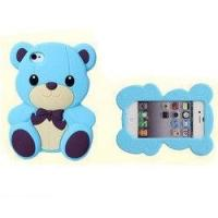China SGS  customized blue 3D Iphone 4 Silicone Case with little bear shape, silk printed on sale