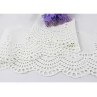 White Floral Scalloped Embroidered Lace Trim , Venice Eyelet Bridal Lace Ribbon
