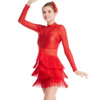 Quality Long Sleeves Stunning Tap Costume Rows Fringes Mock Neck Dance Dress Performance Wear for sale