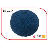 Quality Cable Pattern Womens Knit Beret Hat Acrylic Fabrics With Dark Blue Lurex for sale