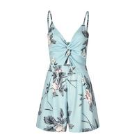 Quality V Neck Ladies Casual Beach Dresses Leaking Navel Dress Sexy Strap Beach Skirt for sale