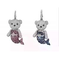 Qeelin  Mermaid Bo Bo pendant in 18K white gold with pave diamonds and sapphires Necklace