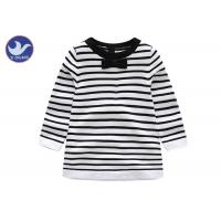 Quality Cotton Knitted Girl Striped Dress , Black And White Childrens Dresses Long Sleeves for sale
