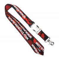 China Black And Red Custom Woven Lanyards With Snap Hook For Ticket Holder on sale