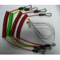 Quality Tool lanyard flex coil cable with custom different colors rubber coated strong leashes for sale