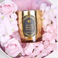 China Gold Glass Jar Room Scented Candles Electroplated Luxury Scented Candle for sale