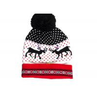 Quality Acrylic Reindeer Pattern Warm Winter Accessories LED Light Knitted Christmas Hat for sale