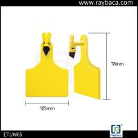 Quality Laser Printing Livestock Ear Tags One Piece Big Size Ear Tag For Cattle Yellow Color for sale