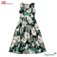 Quality 89D18024 New Design Fashion Casual Beach Floral Round Sleeveless Midi Women Dress for sale