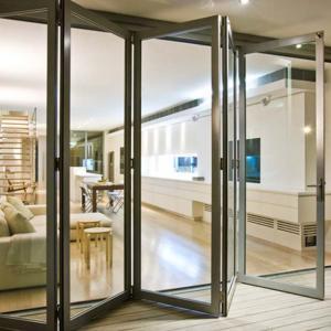 Insulated exterior frameless glass folding screen door for restaurant aluminium door and window
