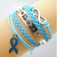 China Leather Wrap Breast Cancer Awareness Bracelet Charm With Blue Ribbon on sale