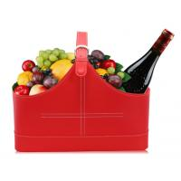 China High Quality Red pu leather gift wine fruitbasket hamper for holiday gift size41x20x27cm on sale