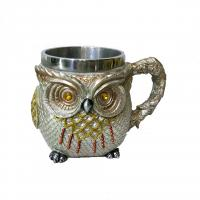 China 400ml Owl statue polyresin double side stainless steel mug on sale
