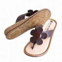 China Women's Flower Slippers with Genuine Leather/Latex Foam Insole, Molding Cork Footbed, 100% MIT on sale