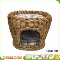 China Wicker pet basket willow dog house wicker cat bed M size with mat 2 dogs on sale