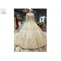 Quality High Neck Ivory Ball Gown Wedding Dress Backless Long Sleeve Gold Beading for sale