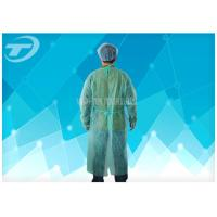 Quality CPE Yellow Disposable Coveralls Waterproof Disposable Gown With Knitted Cuff for sale