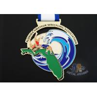 Quality Customized Taekwondo Or wrestling Metal Award Medals with Sublimated Ribbon for sale