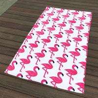 Quality Pink Crane White Pool Beach Towels Non - Fade Water Based Prints For Picnic Cover for sale