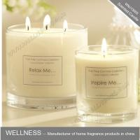 scented three cotton wick soy wax candle in clear glass jar  with gift box