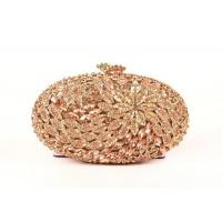 Oval Shape Luxury Stone Clutch Bag  Bridal Wedding With Rose Crystal