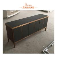 Quality Black Modern Console Table With Storage Drawers And Shelf , Cabinet for sale
