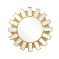 Quality FR-15401 sunburst wall mirror with metal with gold leaf frame for home for sale