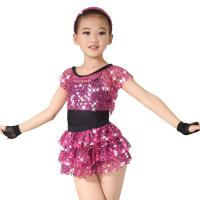 Quality Children Girls Dance Outfit Sequin Jazz Dance Clothes Sleeveless With Tank Top Tiers Skirt Black Leotard for sale