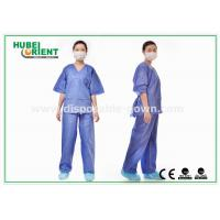 Quality Blue SMS Scrub Disposable Protective Gowns For Doctor / Patient , Size Customized for sale
