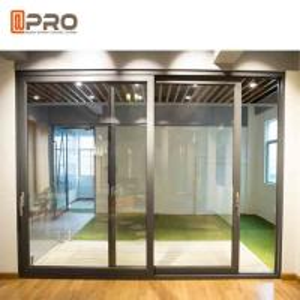 Durable Aluminium Sliding Glass Doors Anodized Surface Finishing Sliver Color