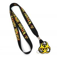 Quality Swivel J-Hook Black Dye Sublimation Lanyards Customised With PVC Rubber Hanger for sale