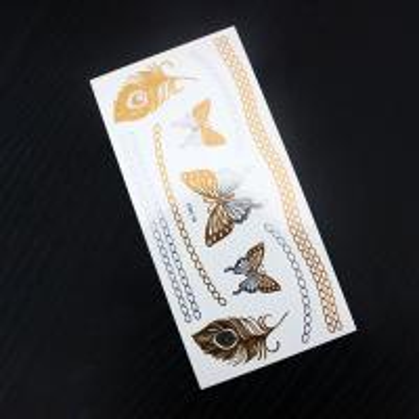 Customized metallic gold foil temporary fake tattoo for Gold foil tattoo