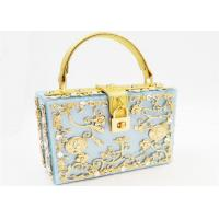 Light Blue Sparkly Glitter Acrylic Clutch With Gold Rhinestone And Handle