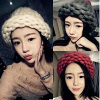 Quality Autumn and winter Korean fashion hand knitting wool hat lady thick line bar twist fashion warm wool hat for sale