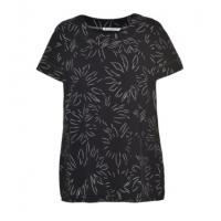 Quality Soft Printed Round Neck Short Sleeve Blouse , Summer Fashion Tops For Ladies for sale
