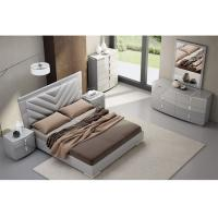 Quality High Gloss King Bedroom Furniture Sets , Solid Wood Bedroom Furniture Fabric / PU Cover for sale