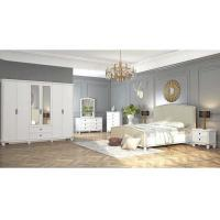 Quality Modern Middle East Moslem White Bedroom Furniture , 2.4 Meter 6 Door Mirrored Wardrobe for sale