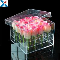 China Durable Square Acrylic Flower Box Makeup Organizer Rose Storage Cosmetic Case for sale