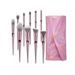 Quality Synthetic Hair Makeup Foundation Brush Sets Plastic Handle Aluminum Ferrule for sale