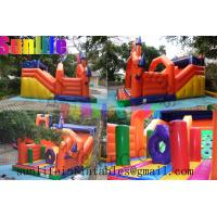 Quality inflatable orange 0.55mm pvc tarpaulin jumping castle for sale