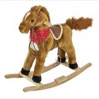Quality Brown Plush Rocking Toy Toddler Rocking Horse With Sound , 68cm Size for sale