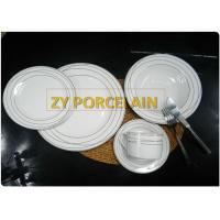Buy cheap Superwhite Ceramic 20 Piece Round Dinnerware Sets For 4 People Gold Line from wholesalers