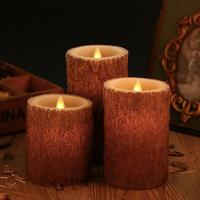 Quality Set Of 3 Bark Simulation Pillar Flameless Led Candles With 10 Key Remote And Cycling 24 Hours Timer for sale