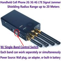 Quality 4 Antenna Handheld Cell Phone 2G 3G 4G LTE Signal Jammer Blocker W/ Single Control Switch for sale