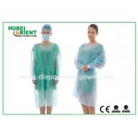Quality 18-40G / m2 Medical Nonwoven Disposable Isolation Gowns with Knitted Cuff for sale