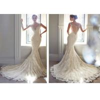 Buy cheap Sexy Deep V Mermaid Tail Wedding Dress , Handmade Lace Wedding Gowns For Womens from wholesalers