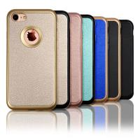 Leather Textured Pattern Grip Apple Cell Phone Cases With  PC Bumper + Soft TPU