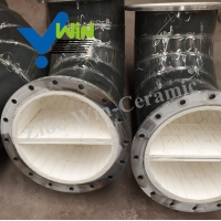 Quality Ceramic lined elbow stainless steel pipe alumina ceramic lined pipe ceramic pipe for sale